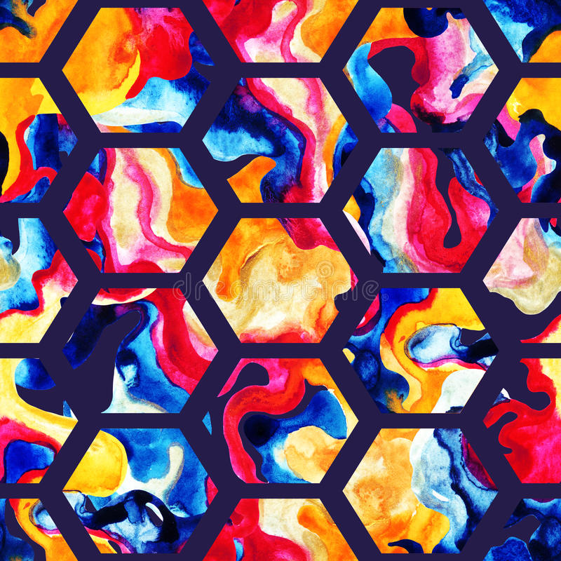 Modèle sans couture d'hexagone d'aquarelle illustration de vecteur