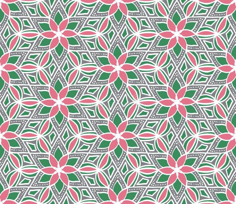 Modèle sans couture d'hexagone géométrique tiré par la main de fleur Tex floral illustration stock