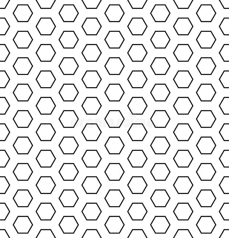 Modèle sans couture d'hexagones Texture et fond géométriques blancs et noirs illustration libre de droits