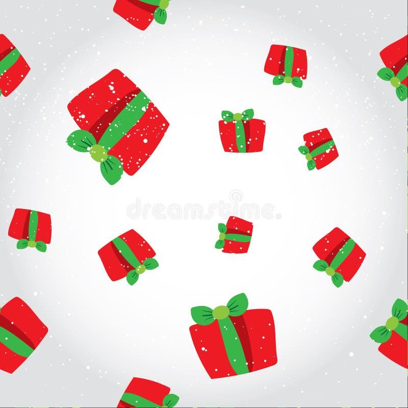 Modèle sans couture d'hiver avec boîte-cadeau rouges Fond plat de Noël de vecteur avec les présents Papier peint moderne de tuile illustration libre de droits