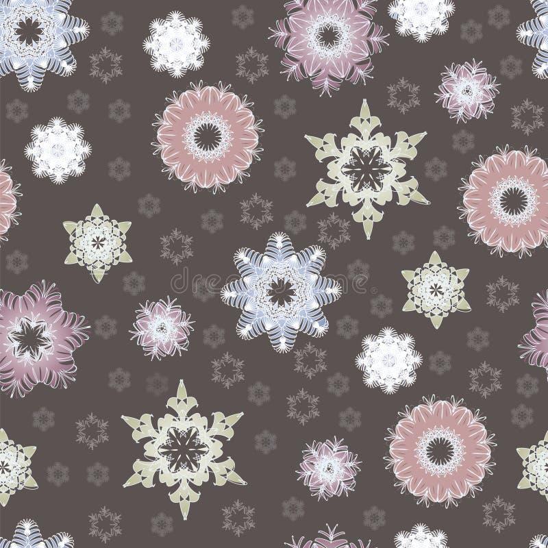 Modèle sans couture d'hiver avec de beaux flocons de neige illustration de vecteur