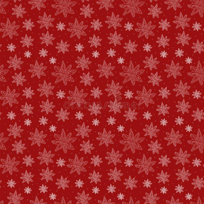 Modèle sans couture d'hiver avec l'anis d'étoile sur le fond de Bourgogne illustration de vecteur