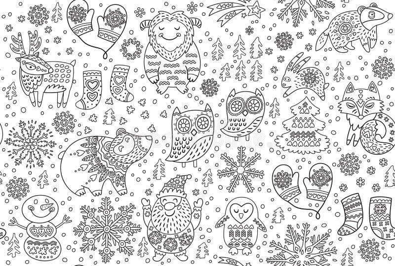 Modèle sans couture d'hiver avec les animaux de fantaisie décoratifs dans la neige Idéal d'illustration de vecteur de découpe pou illustration de vecteur