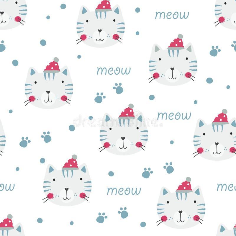 Modèle sans couture d'hiver avec les chats mignons illustration de vecteur