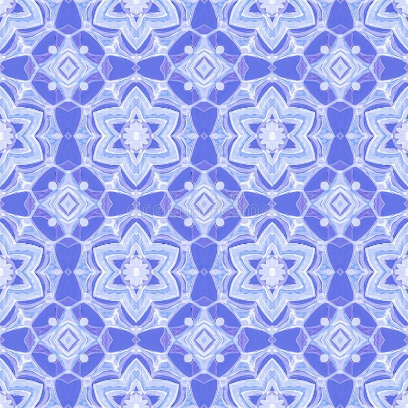 Modèle sans couture d'hiver blanc, bleu, géométrique photos stock