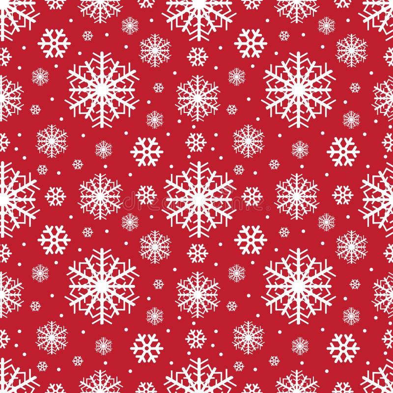 Modèle sans couture d'hiver de flocons de neige, fond de Noël Illustration de vecteur illustration stock