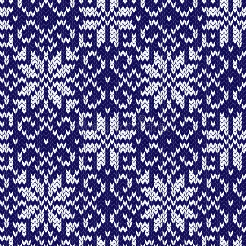 Modèle sans couture d'hiver de jacquard avec des flocons de neige illustration de vecteur