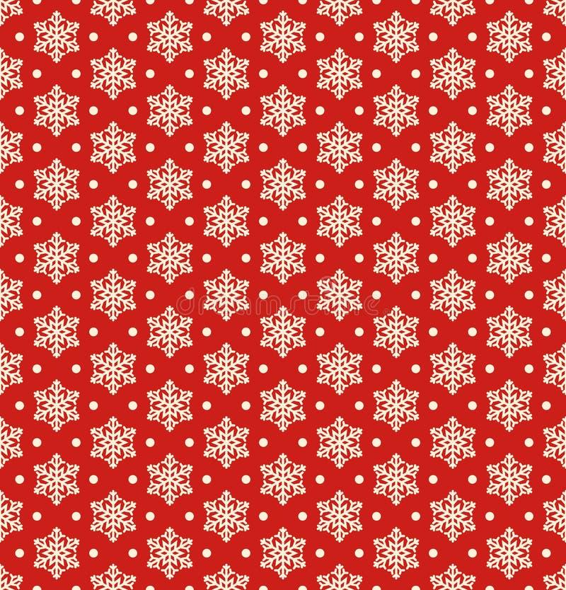 Modèle sans couture d'hiver de Noël avec des flocons de neige sur le Re illustration stock