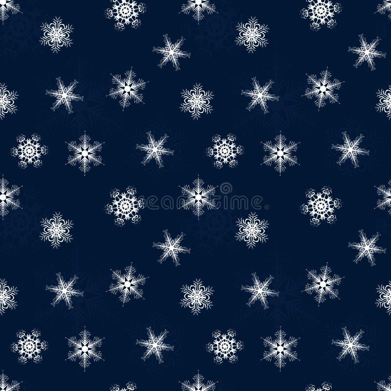 Modèle sans couture d'hiver des flocons de neige de dentelle sur le fond bleu illustration de vecteur