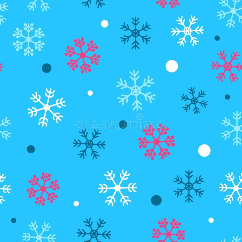 Modèle sans couture d'hiver Flocons de neige Fond de vecteur de neige illustration de vecteur