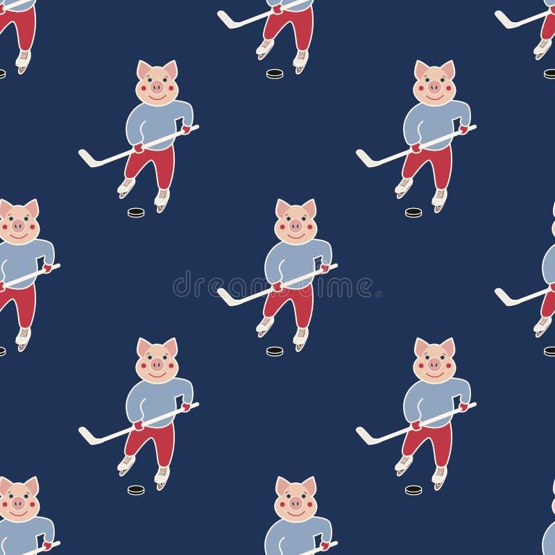 Modèle sans couture d'hockey illustration stock
