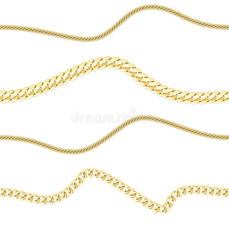 Modèle sans couture d'horizon de chaînes d'or de vecteur sur le blanc illustration de vecteur