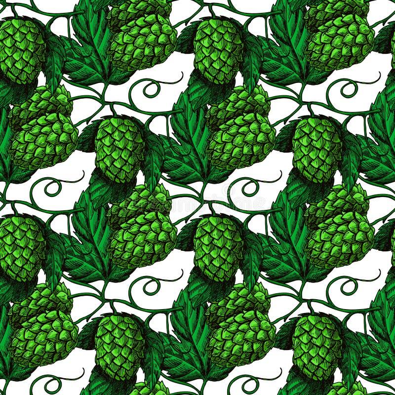 Modèle sans couture d'houblon Espoir artistique tiré par la main de vert de bière illustration de vecteur