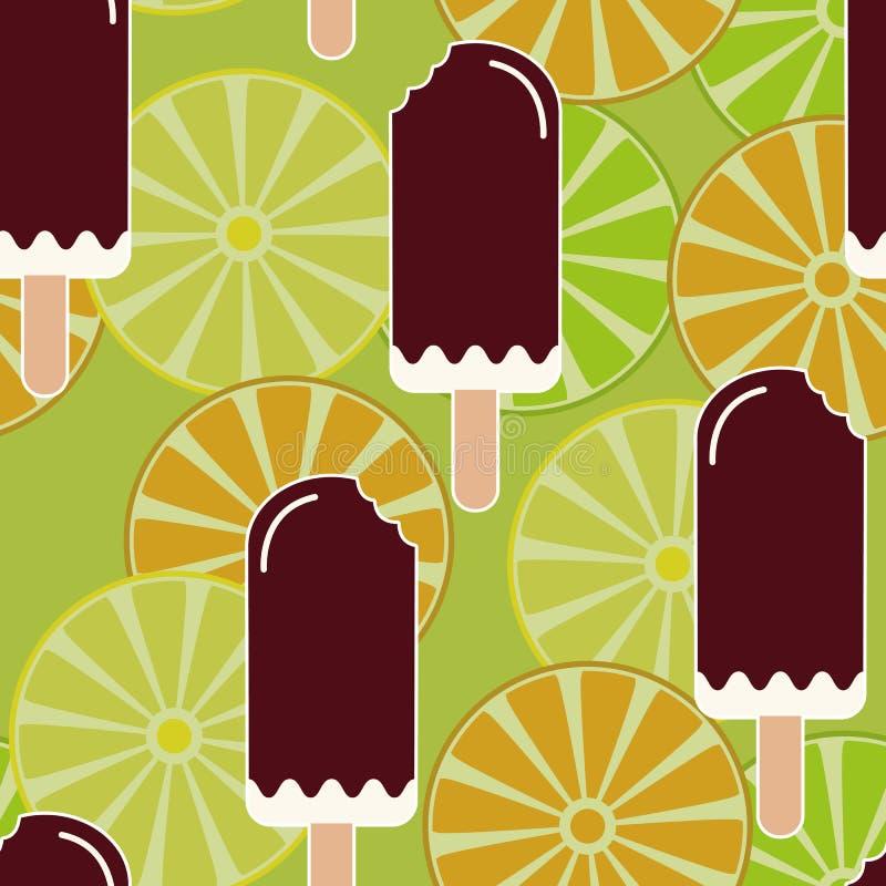 Modèle sans couture d'humeur d'été avec la crème glacée, les citrons, les oranges et les chaux mangés doux Texture avec les desse illustration de vecteur