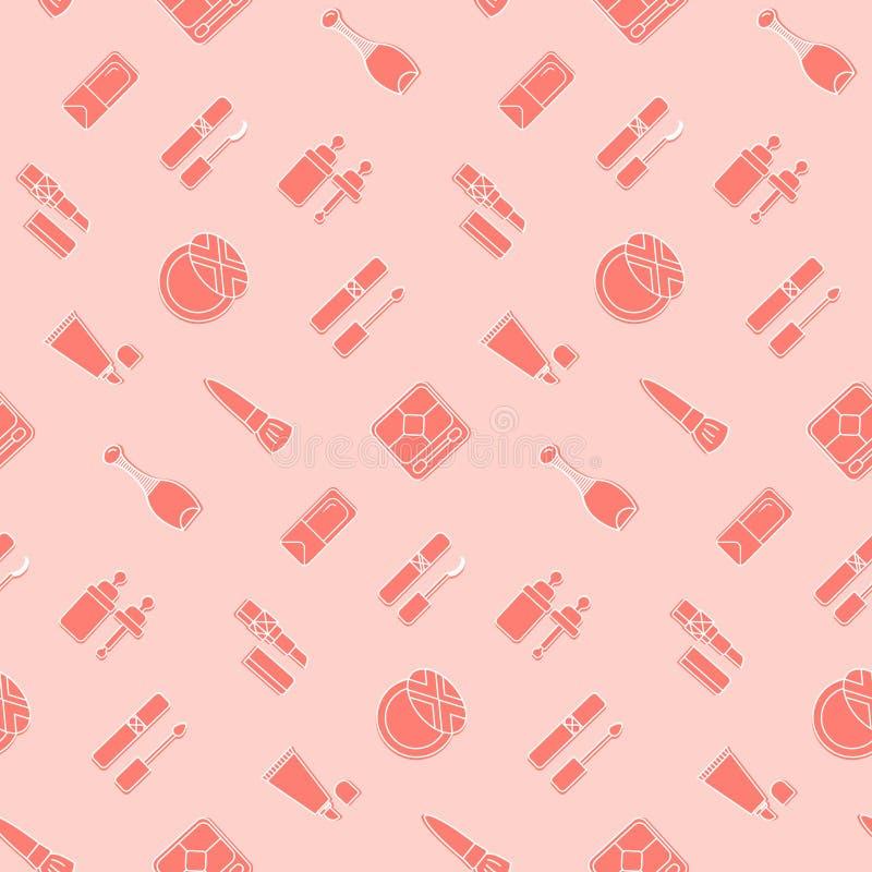 Modèle sans couture d'icône cosmétique Papier peint rose de vecteur illustration de vecteur