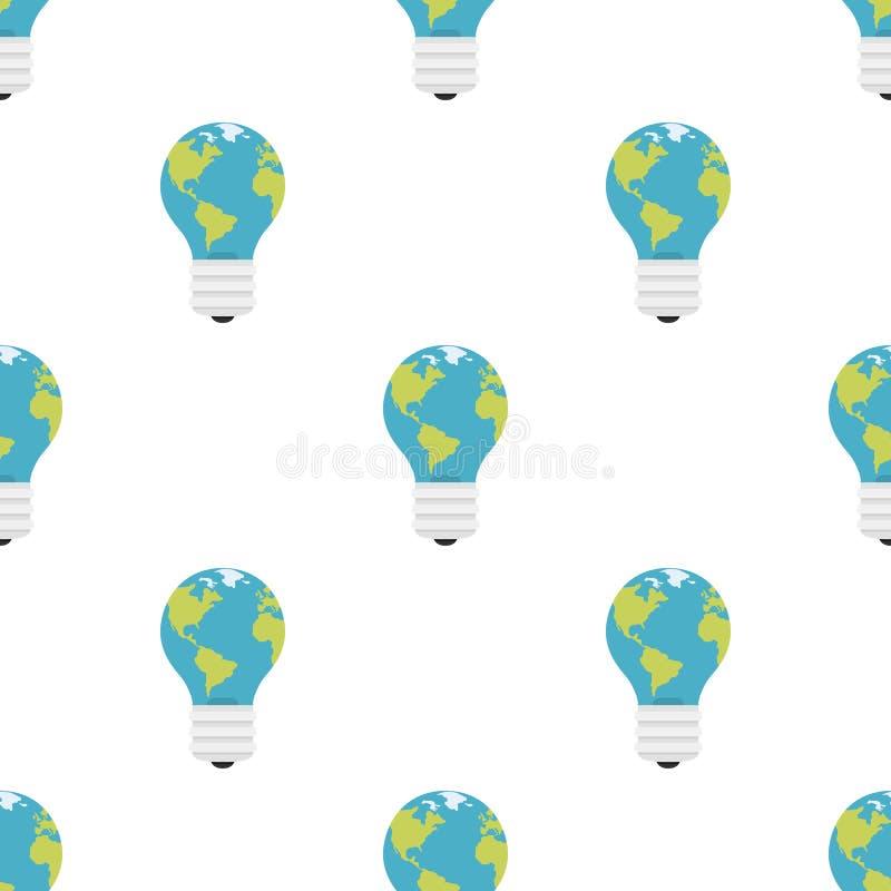 Modèle sans couture d'icône plate bleue d'ampoule illustration stock