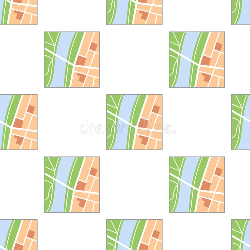 Modèle sans couture d'icône plate colorée de carte illustration libre de droits