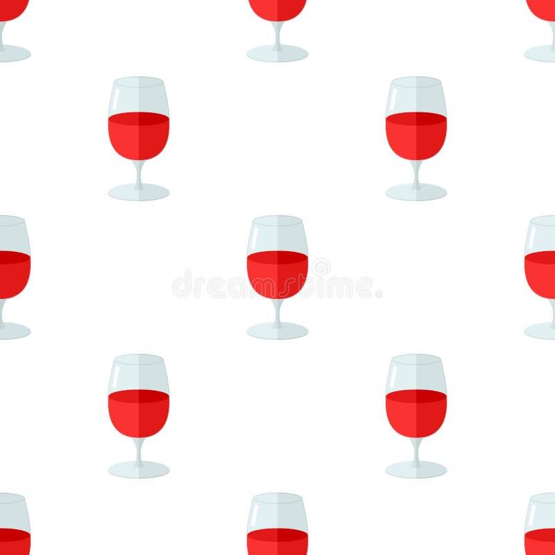 Modèle sans couture d'icône plate en verre de vin illustration stock