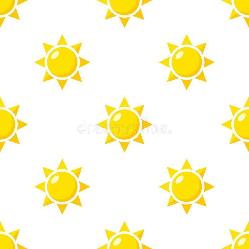 Modèle sans couture d'icône plate jaune de Sun illustration stock