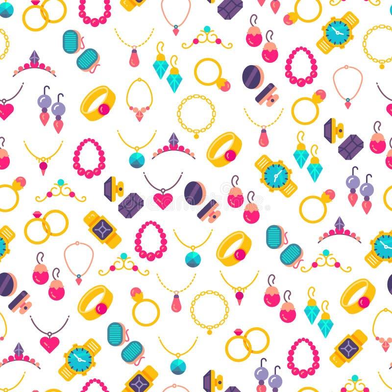 Modèle sans couture d'icônes colorées de bijoux illustration de vecteur