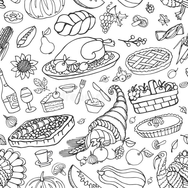 Modèle sans couture d'icônes de griffonnage de jour de thanksgiving illustration libre de droits