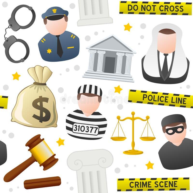 Modèle sans couture d'icônes de loi et d'ordre illustration libre de droits
