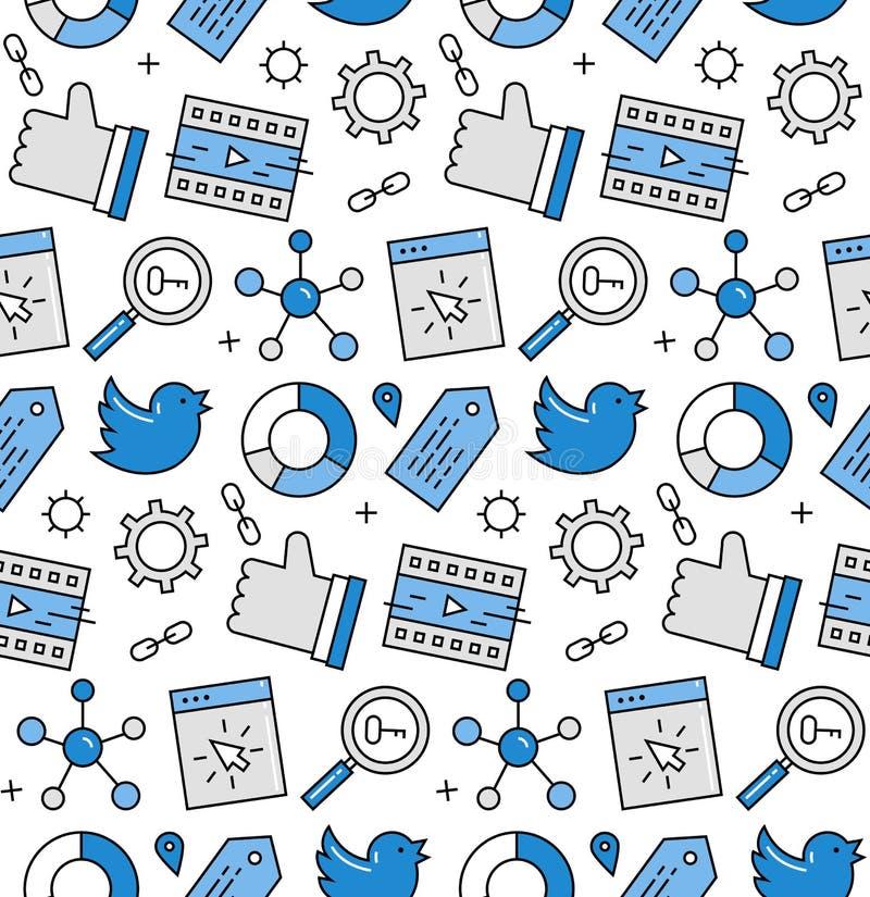 Modèle sans couture d'icônes de media social illustration libre de droits