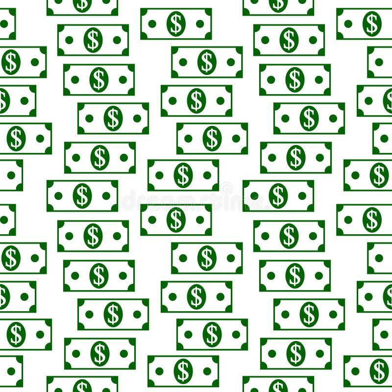 Modèle sans couture d'icônes du dollar sur le blanc illustration de vecteur