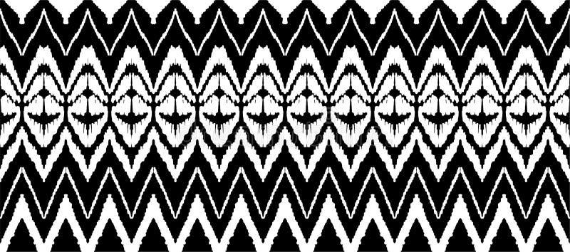 Modèle sans couture d'Ikat Copie de shibori de colorant de lien de vecteur avec les rayures et le chevron Fond japonais texturisé illustration libre de droits