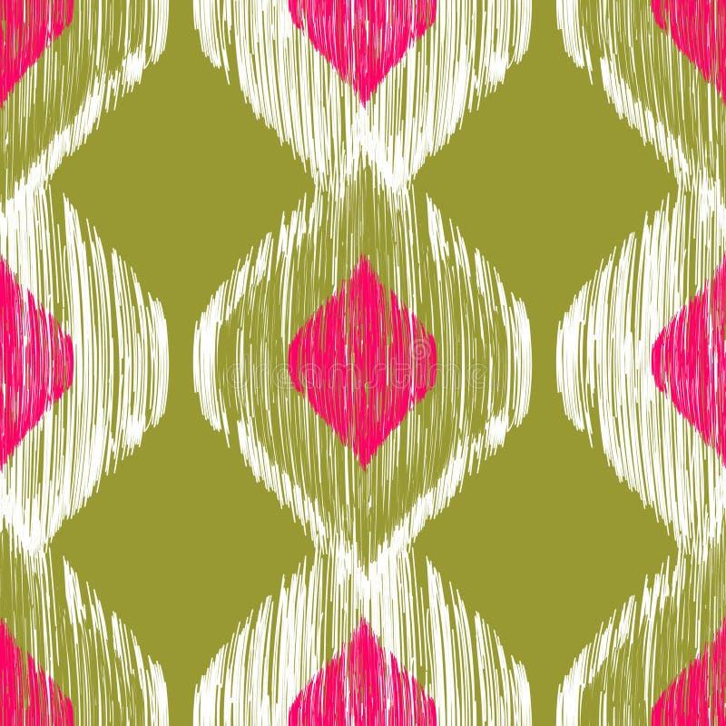 Modèle sans couture d'ikat dans des couleurs roses et kaki Fond de tribal de vecteur illustration libre de droits