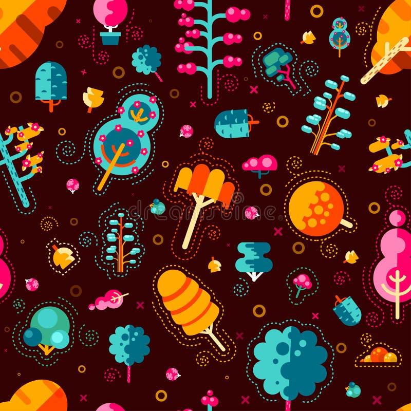 Download Modèle Sans Couture D'illustration Avec Les Arbres Colorés Dans Un Style Plat Sur Le Fond Brun Illustration de Vecteur - Illustration du lame, foncé: 76081073
