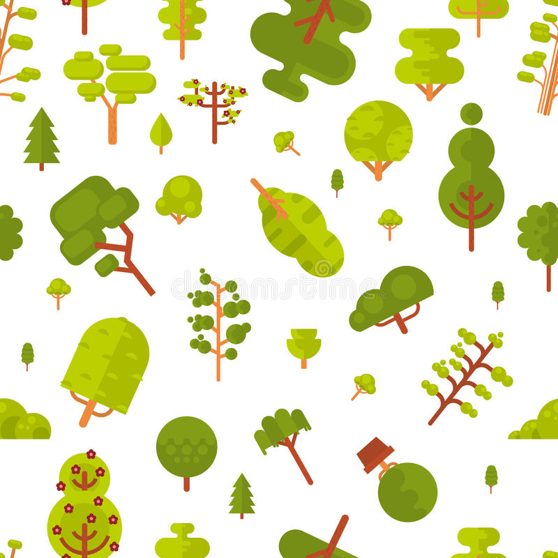 Download Modèle Sans Couture D'illustration Avec Les Arbres Et Les Buissons Verts Sur Un Fond Blanc Dans Le Style Plat Illustration de Vecteur - Illustration du mignon, branchement: 76080962