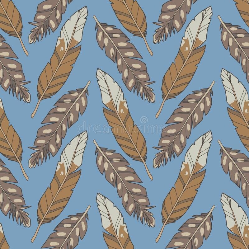 Modèle sans couture d'illustration avec les plumes brunes naturelles d'aigle de style de bande dessinée sur le fond de bue illustration libre de droits