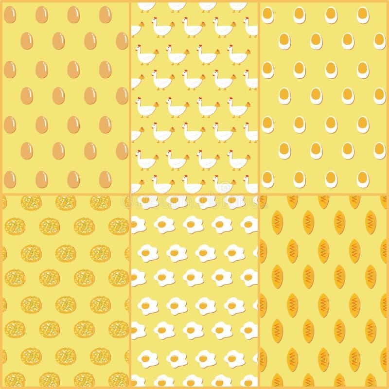 Modèle sans couture d'illustration de vecteur des plats de poulet et d'oeufs illustration libre de droits