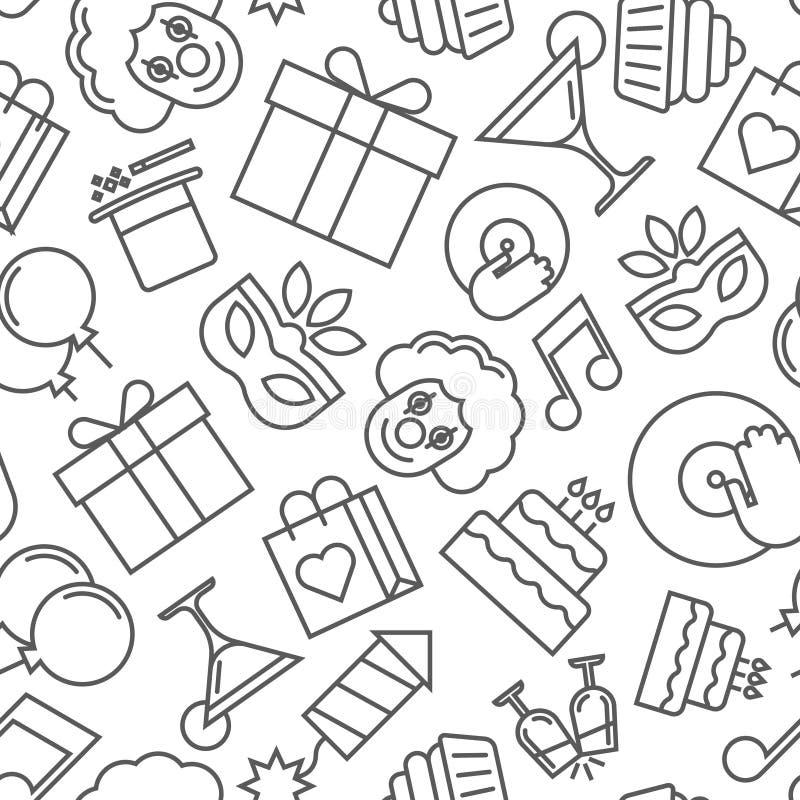 Modèle sans couture d'illustration des icônes colorées de partie, papier peint pendant des vacances - vecteur illustration stock