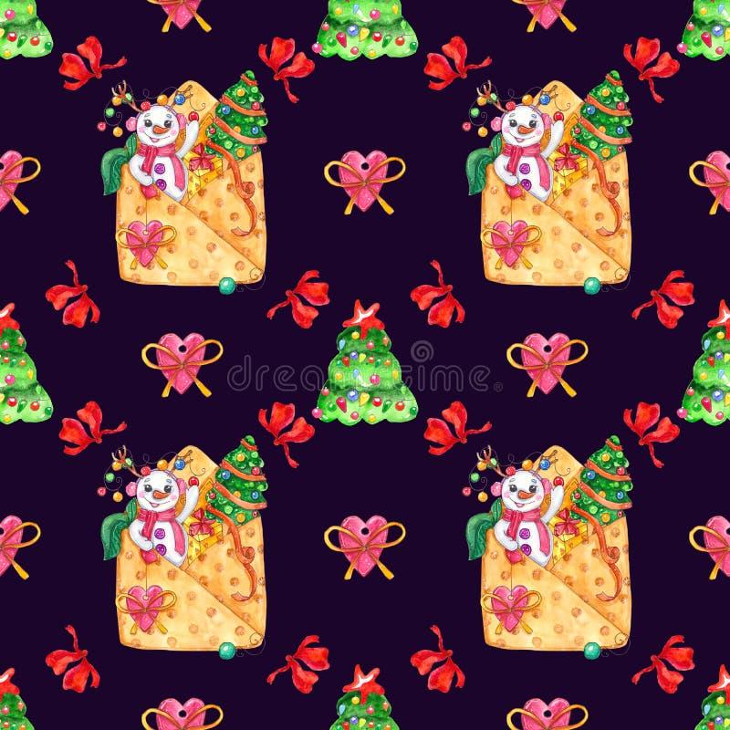 Modèle sans couture d'illustration tirée par la main de Noël d'aquarelle illustration stock