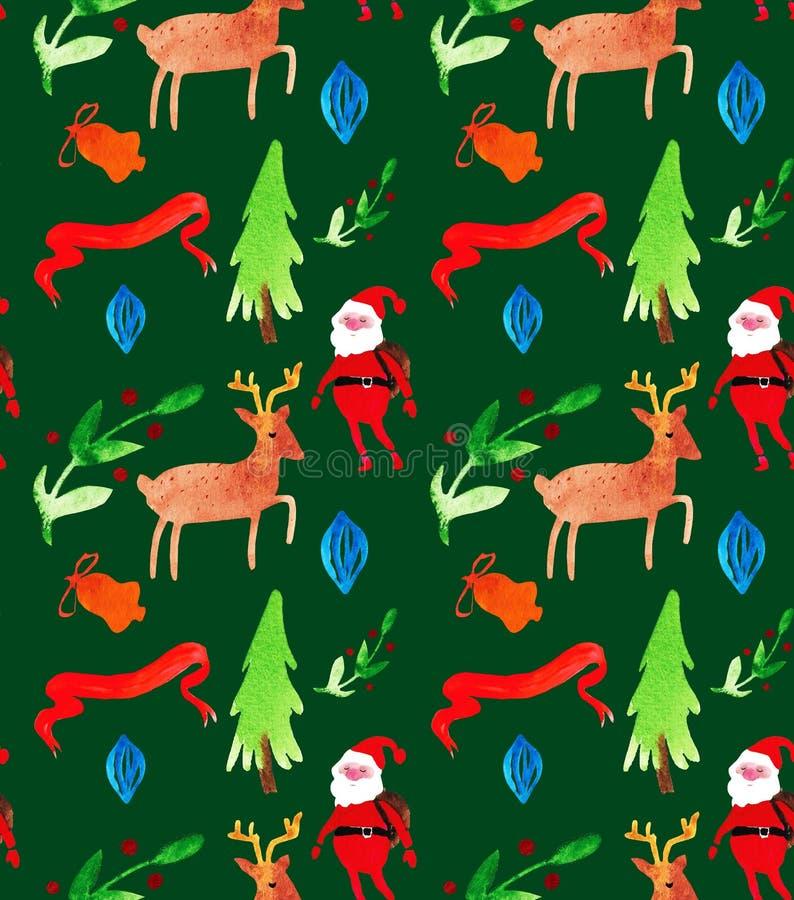 Modèle sans couture d'illustrations de Noël d'aquarelle avec le père noël, des cerfs communs, des arbres et des baies Thème de no illustration libre de droits