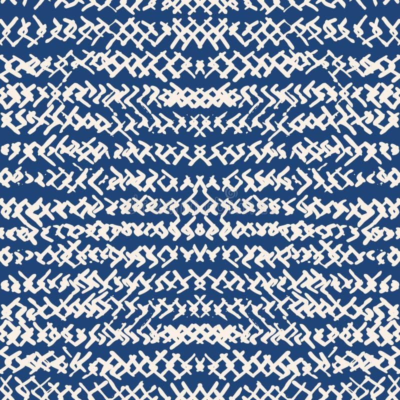 Modèle sans couture d'indigo de colorant de lien Copie japonaise de shibori de vecteur illustration libre de droits