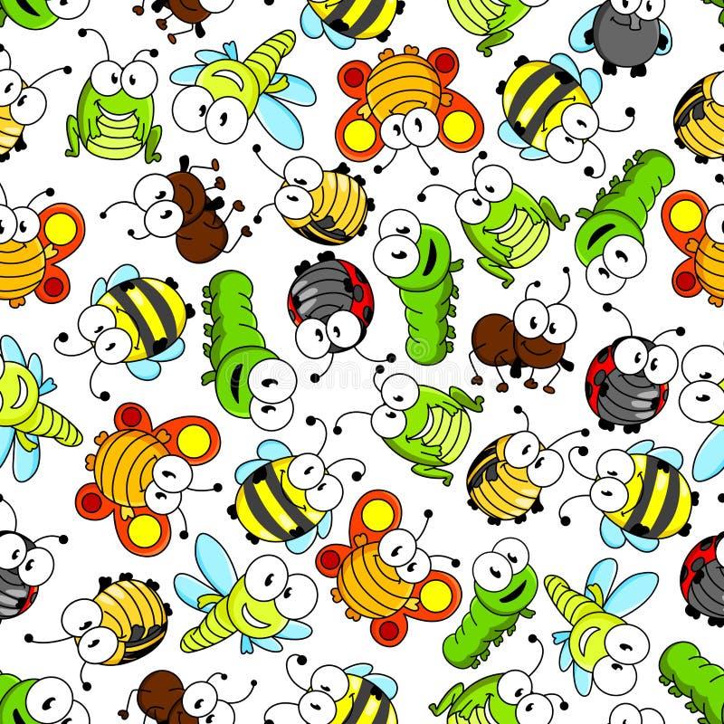 Modèle sans couture d'insectes drôles colorés de bande dessinée illustration stock