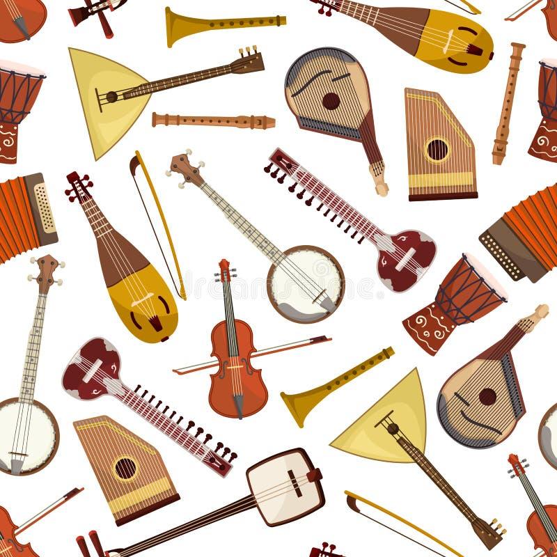 Modèle sans couture d'instrument de musique ethnique illustration libre de droits
