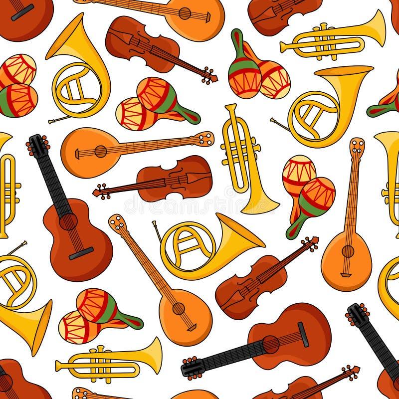 Modèle sans couture d'instruments d'équipement de musique illustration libre de droits