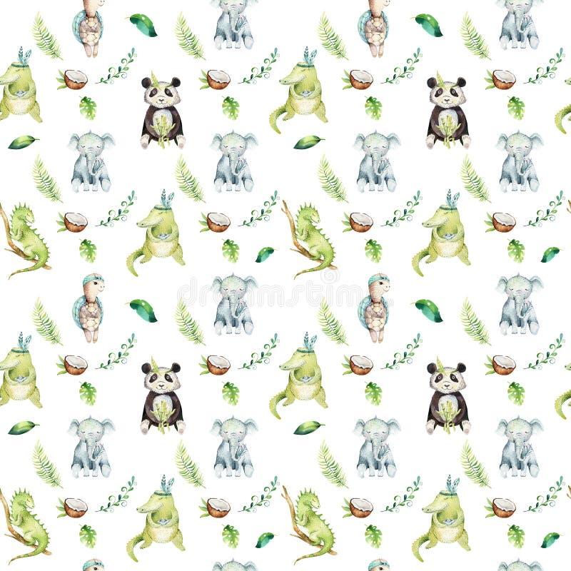 Modèle sans couture d'isolement par crèche d'animaux de bébé Dessin tropical de boho d'aquarelle, dessin tropical d'enfant, panda illustration stock