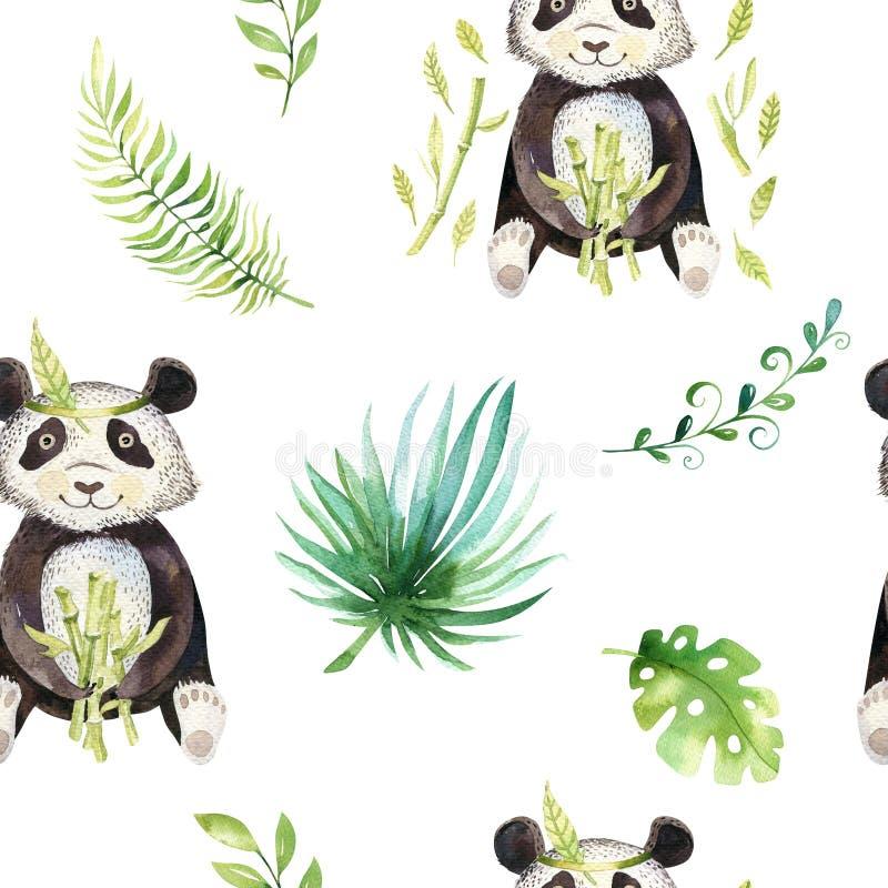 Modèle sans couture d'isolement par crèche d'animaux de bébé Dessin tropical de boho d'aquarelle, panda mignon de dessin tropical illustration de vecteur