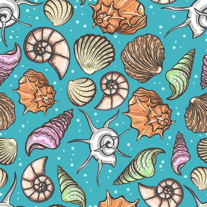Modèle sans couture d'océan avec les coquillages colorés illustration libre de droits