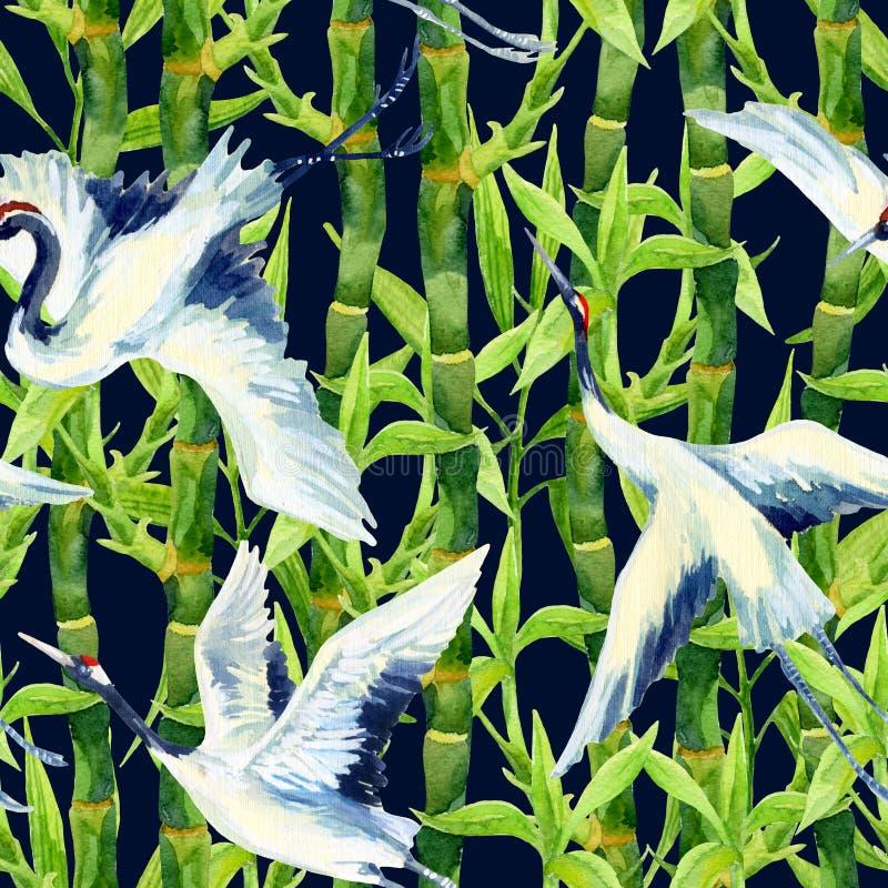 Modèle sans couture d'oiseau asiatique de grue d'aquarelle illustration stock