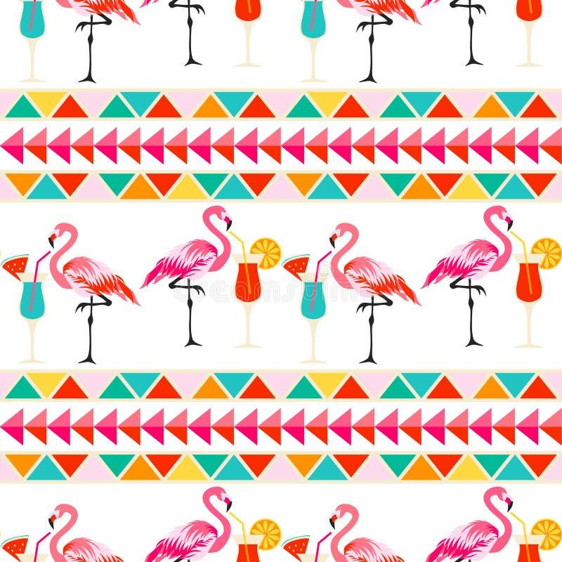 Modèle sans couture d'oiseau de flamant illustration stock