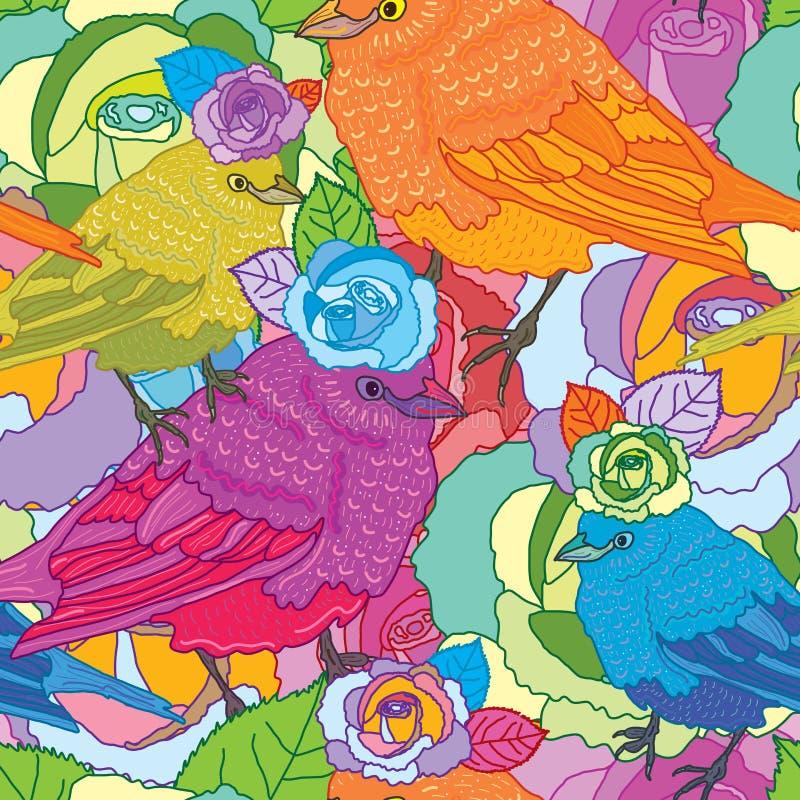 Modèle sans couture d'oiseau de Rose illustration de vecteur