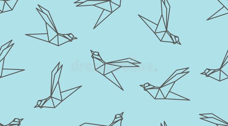 Modèle sans couture d'oiseau d'ensemble d'origami illustration de vecteur