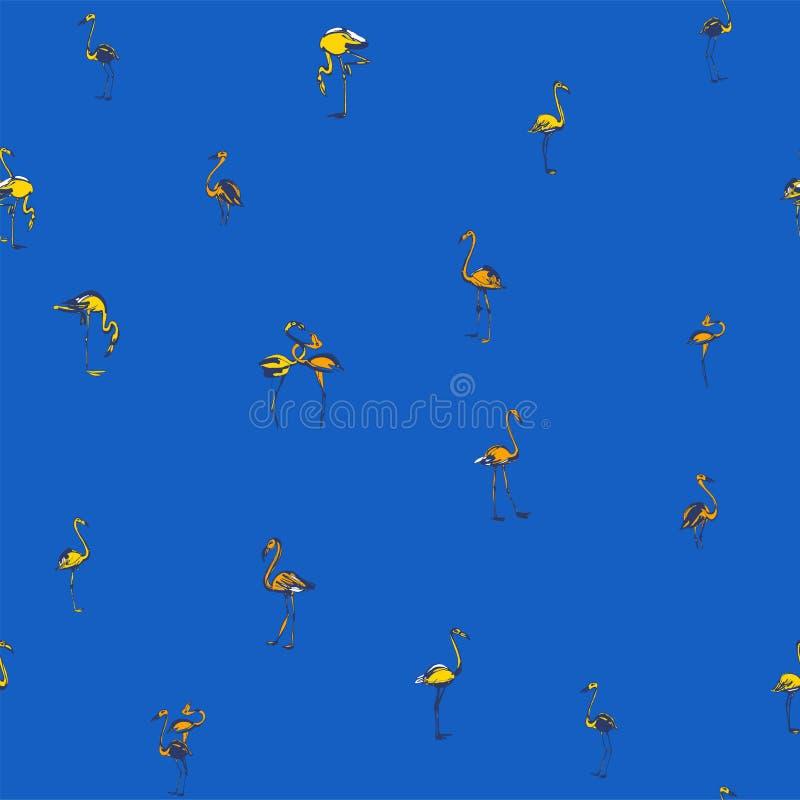 Modèle sans couture d'oiseaux d'été exotique tropical de flamants Noircissez a illustration stock