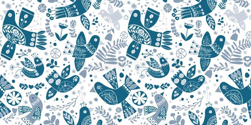 Modèle sans couture d'oiseaux bleus folkloriques de Noël de vecteur illustration libre de droits